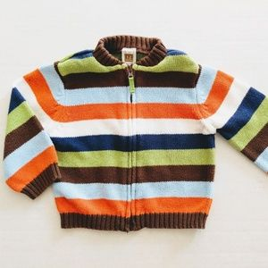 Carter's Striped Zip Front Cardigan Size 12M